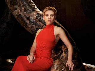 Scarlett Johansson In Red 2017 wallpaper
