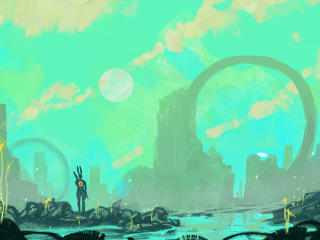 Scifi Landscape Painting wallpaper