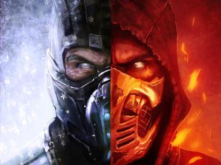 Scorpion Mortal Kombat Ice and Fire Art wallpaper