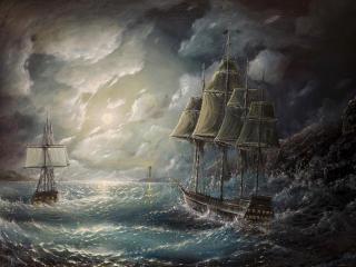 sea, sail, drawing wallpaper