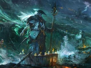 sea, storm, boat wallpaper