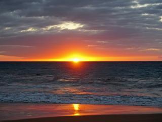 sea, sunset, horizon wallpaper