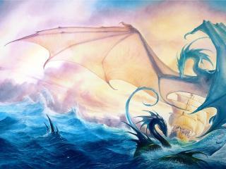 sea, waves, ship wallpaper