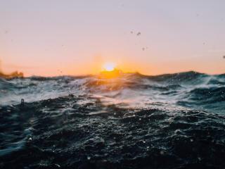 sea, waves, sunlight wallpaper
