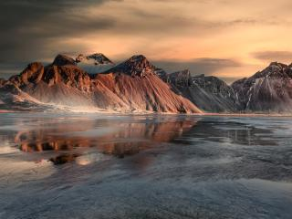 Seashore Iceland Mountains 5K wallpaper