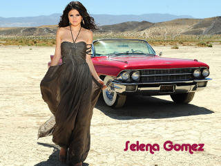 Selena Gomez with Car In Desert wallpaper wallpaper
