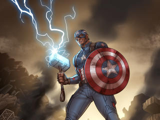 Shield Captain America with Thor's Hammer wallpaper