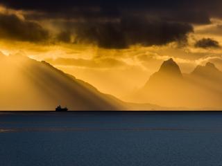 HD Wallpaper | Background Image Ship Coastline Mountain And Ocean In Sunbeam