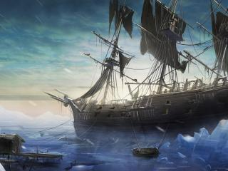 ship, sea, pier wallpaper