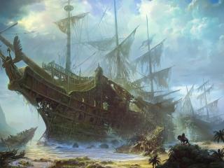 ships, old, wreckage wallpaper