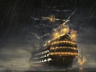 ships, sea, light wallpaper