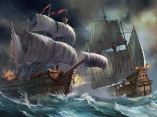 ships, sea, storm wallpaper