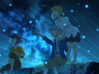 Shooting Star and Anime Girls wallpaper