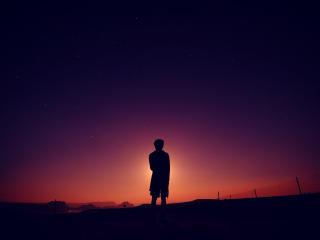 silhouette, man, night wallpaper