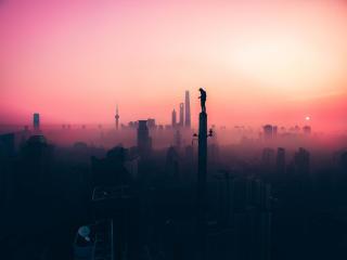 silhouette, sky, fog wallpaper