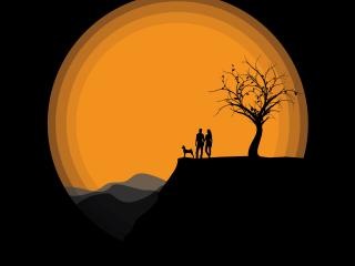 Silhouettes Couple Near Moon wallpaper