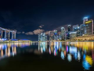 Singapore Building Reflection on Lake wallpaper