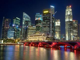 singapore, river, night wallpaper