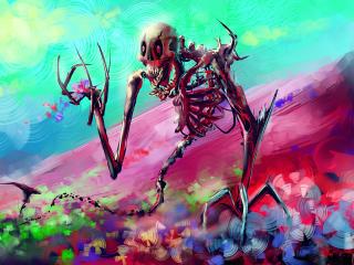 skeleton, art, bright wallpaper