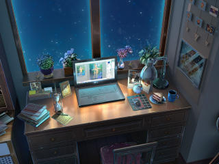 Small Laptop Workstation Anime wallpaper
