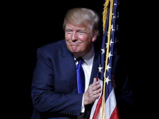 Smiling Donald Trump with US Flag wallpaper