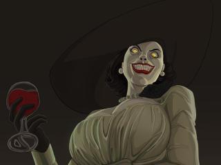 Smiling Vampire Lady Resident Evil Village wallpaper
