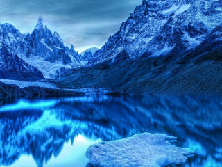 Snow Ice Mountains Reflection On Lake wallpaper