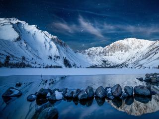 Snowy Mountains at Starry Night wallpaper