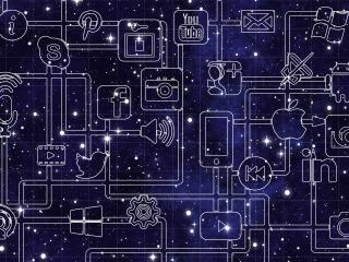social media, logos, cosmos wallpaper