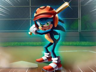 Sonic playing baseball wallpaper