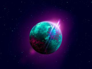 Space Retro-wave Planet wallpaper