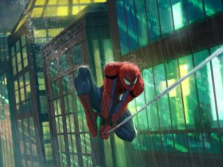 Spider Man Flying in Rain wallpaper