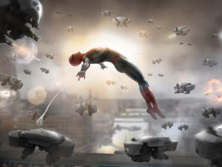Spiderman Against Drones wallpaper
