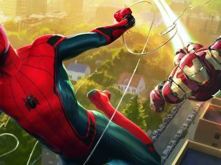 Spiderman And Iron Man Artwork wallpaper