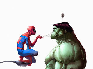 Spiderman Annoying Hulk wallpaper