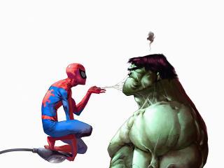 Spiderman Annoying Hulk wallpaper