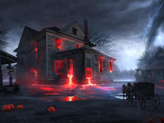 Spooky Halloween House wallpaper