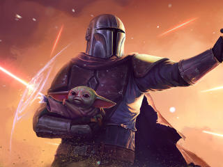 Star Wars Mandalorian and Baby Yoda wallpaper