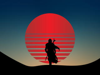 Star Wars The Mandalorian 4K Vaporwave wallpaper