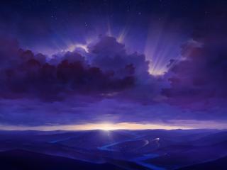 Starry Night Landscape wallpaper
