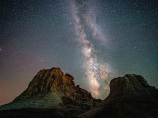 Starry Star Sky and Mountain wallpaper