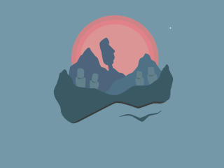 Statues on Mountain At Evening wallpaper