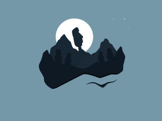 Statues on Mountain At Night wallpaper