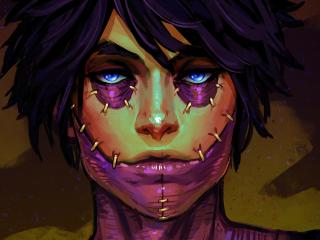 Stitched Woman Face wallpaper