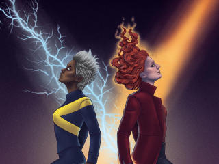 Storm and Jean Grey Dark Phoenix wallpaper