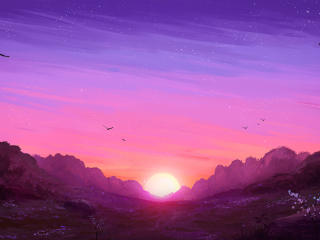 Sunrise Landscape Artistic Design wallpaper