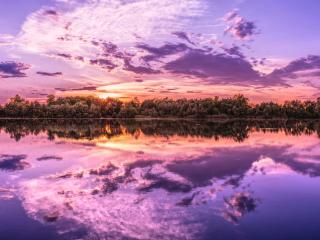 Sunrise Reflection On Lake wallpaper
