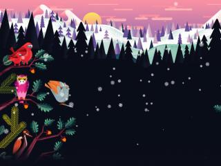 Sunrise Winter Forest Art wallpaper