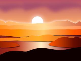 HD Wallpaper | Background Image Sunset Digital Art