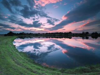 sunset, nature, river wallpaper